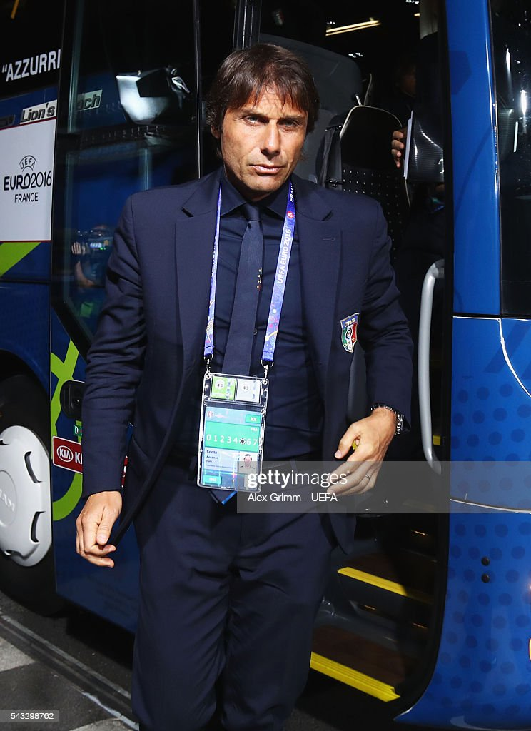 <a gi-track='captionPersonalityLinkClicked' href=/galleries/search?phrase=Antonio+Conte&family=editorial&specificpeople=2379002 ng-click='$event.stopPropagation()'>Antonio Conte</a> head coach of Italy is seen on arrival at the stadium prior to the UEFA EURO 2016 round of 16 match between Italy and Spain at Stade de France on June 27, 2016 in Paris, France.