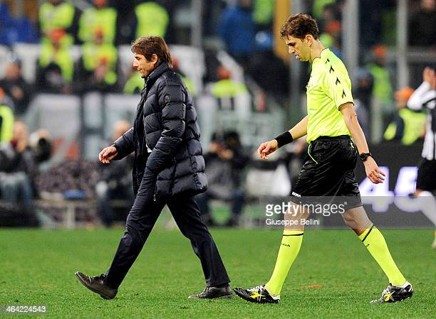 Antonio Conte head coach of Juventus and referee Paolo Tagliavento after the TIM Cup match between AS Roma and Juventus FC at Olimpico Stadium on...