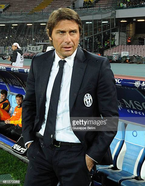 Antonio Conte head coach of Juventus during the Serie A match between SSC Napoli and Juventus at Stadio San Paolo on March 30 2014 in Naples Italy