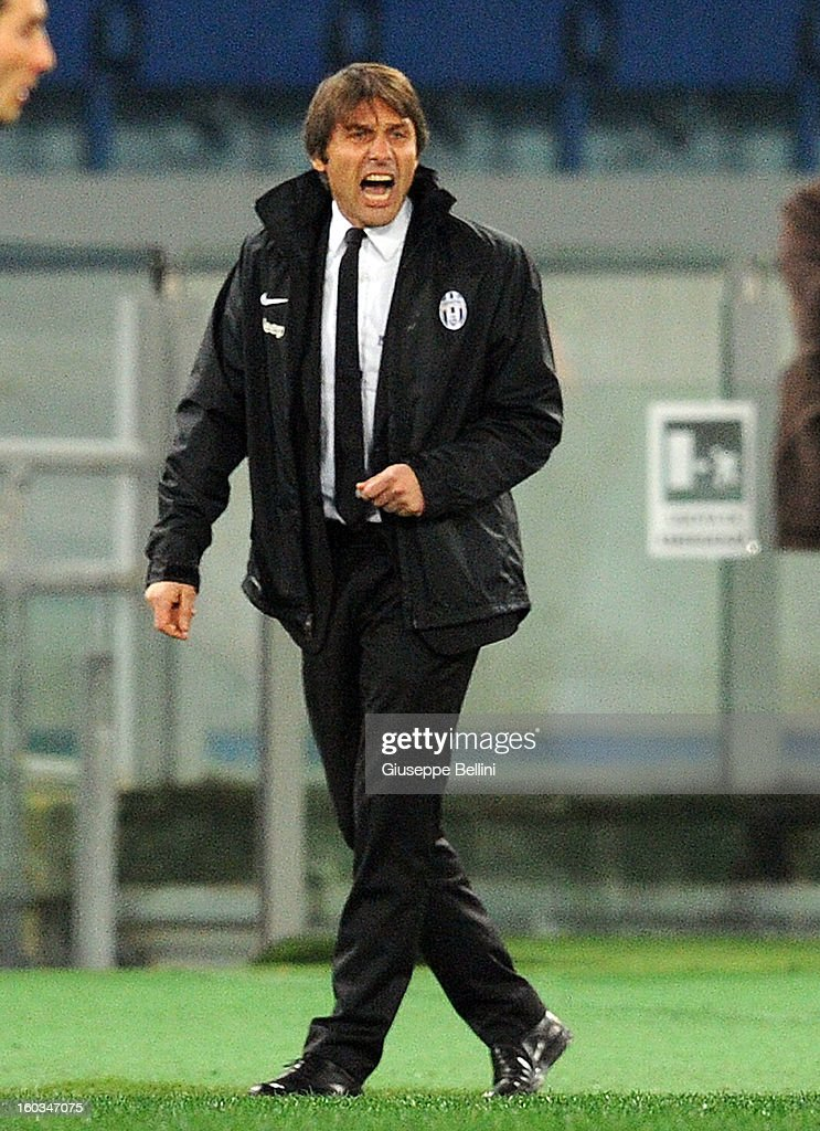 <a gi-track='captionPersonalityLinkClicked' href=/galleries/search?phrase=Antonio+Conte&family=editorial&specificpeople=2379002 ng-click='$event.stopPropagation()'>Antonio Conte</a> head coach of Juventus during the TIM cup match between S.S. Lazio and Juventus FC at Stadio Olimpico on January 29, 2013 in Rome, Italy.