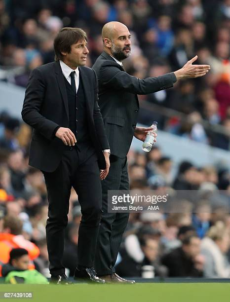 Antonio Conte manager / head coach of Chelsea and Josep Guardiola the head coach / manager of Manchester City during the Premier League match between...