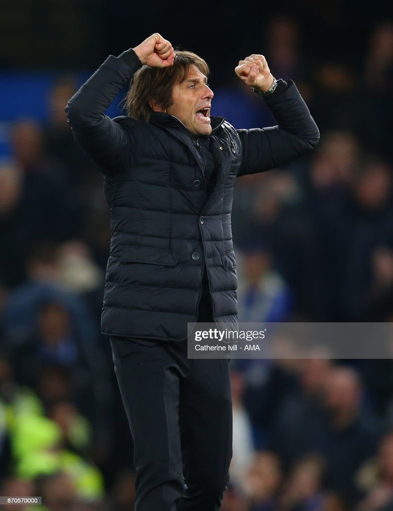Antonio Conte manager / head coach of Chelsea celebrates after the Premier League match between Chelsea and Manchester United at Stamford Bridge on November 5, 2017 in London, England.