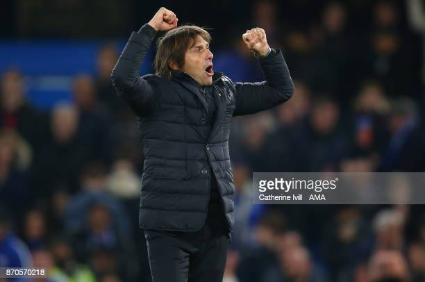 Antonio Conte manager / head coach of Chelsea celebrates after the Premier League match between Chelsea and Manchester United at Stamford Bridge on...