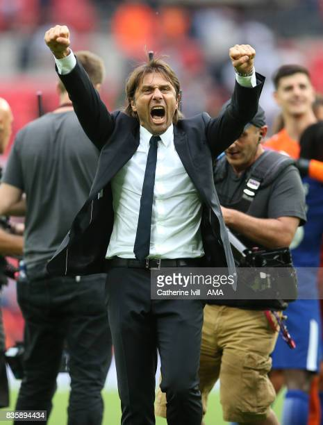 Antonio Conte manager / head coach of Chelsea celebrates the win during the Premier League match between Tottenham Hotspur and Chelsea at Wembley...