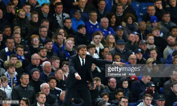 Antonio Conte manager / head coach of Chelsea during the Premier League match between Chelsea and Southampton at Stamford Bridge on April 25 2017 in...