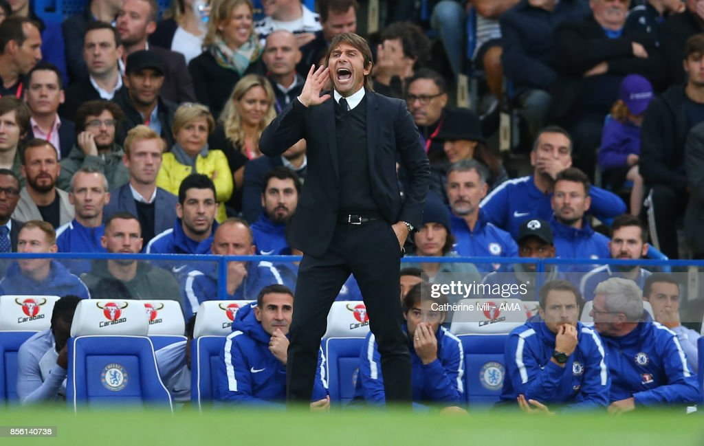 Antonio Conte manager / head coach of Chelsea during the Premier League match between Chelsea and Manchester City at Stamford Bridge on September 30, 2017 in London, England.