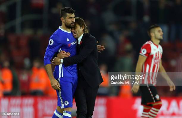 Antonio Conte manager / head coach of Chelsea hugs Diego Costa of Chelsea after the Premier League match between Southampton and Chelsea at St Mary's...