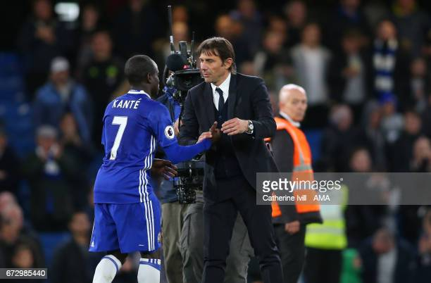 Antonio Conte manager / head coach of Chelsea with N'golo Kante of Chelsea the Premier League match between Chelsea and Southampton at Stamford...