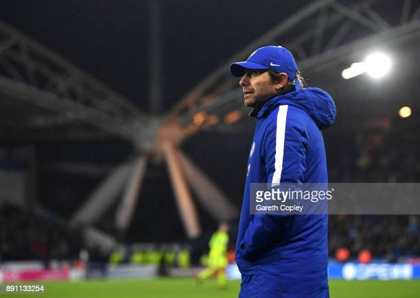 Antonio Conte Manager of Chelsea after the Premier League match between Huddersfield Town and Chelsea at John Smith's Stadium on December 12 2017 in...