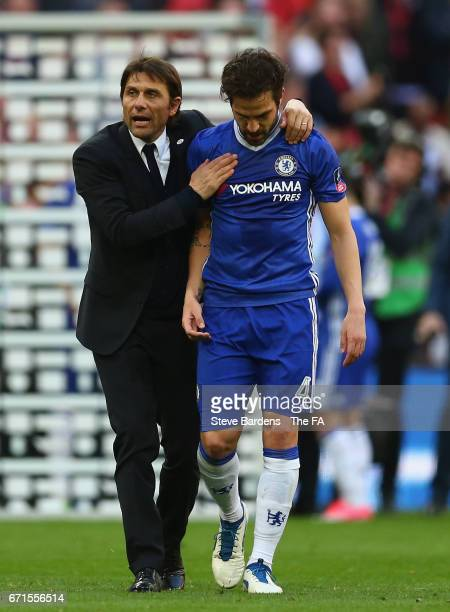 Antonio Conte Manager of Chelsea and Cesc Fabregas of Chelsea celebrate during The Emirates FA Cup SemiFinal between Chelsea and Tottenham Hotspur at...