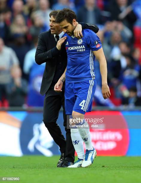 Antonio Conte manager of Chelsea and Cesc Fabregas of Chelsea during The Emirates FA Cup SemiFinal between Chelsea and Tottenham Hotspur at Wembley...