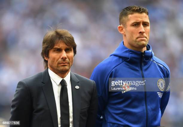 Antonio Conte Manager of Chelsea and Gary Cahill of Chelsea look on prior to The Emirates FA Cup Final between Arsenal and Chelsea at Wembley Stadium...
