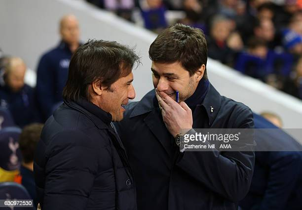 Antonio Conte manager of Chelsea and Mauricio Pochettino manager of Tottenham Hotspur during the Premier League match between Tottenham Hotspur and...