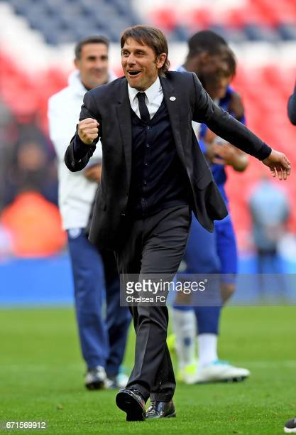 Antonio Conte Manager of Chelsea applauds supporters during The Emirates FA Cup SemiFinal between Chelsea and Tottenham Hotspur at Wembley Stadium on...
