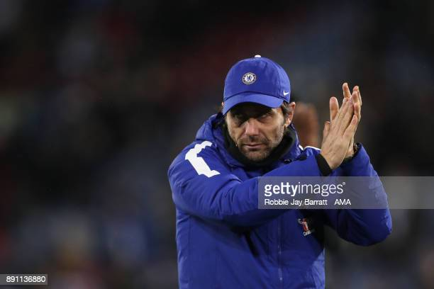 Antonio Conte manager of Chelsea applauds the fans at full time during the Premier League match between Huddersfield Town and Chelsea at John Smith's...