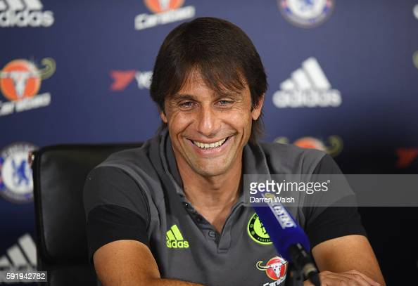 Antonio Conte Manager of Chelsea attends a press conference at the Chelsea Training Ground on August 19 2016 in Cobham England