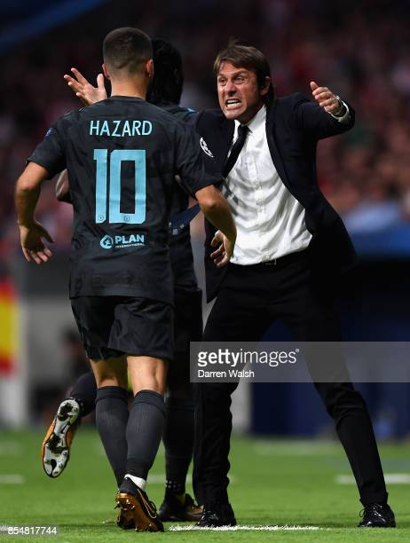 Antonio Conte Manager of Chelsea celebrates after Chelsea score their first goal during the UEFA Champions League group C match between Atletico...