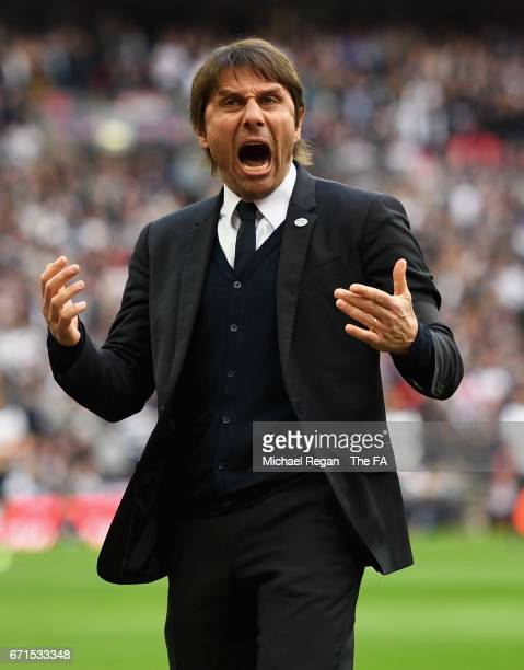 Antonio Conte Manager of Chelsea celebrates after his side score their second goal during The Emirates FA Cup SemiFinal between Chelsea and Tottenham...