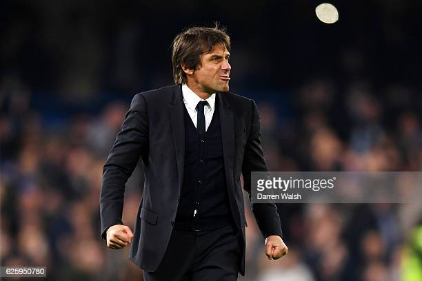 Antonio Conte Manager of Chelsea celebrates after his team's 21 win in the Premier League match between Chelsea and Tottenham Hotspur at Stamford...