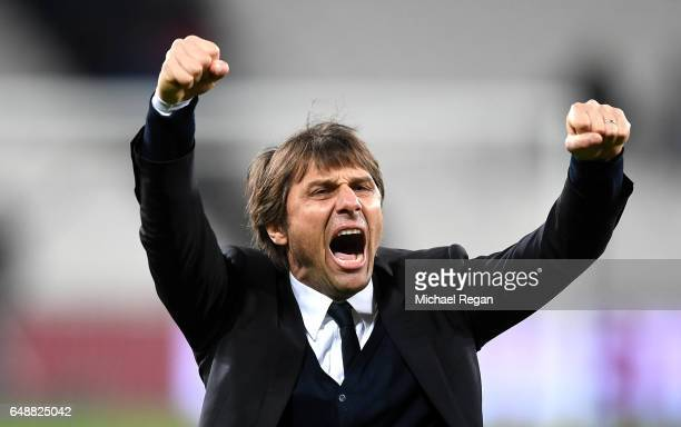 Antonio Conte Manager of Chelsea celebrates after the full time whistle following victory in the Premier League match between West Ham United and...