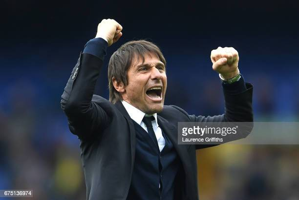 Antonio Conte Manager of Chelsea celebrates after the Premier League match between Everton and Chelsea at Goodison Park on April 30 2017 in Liverpool...