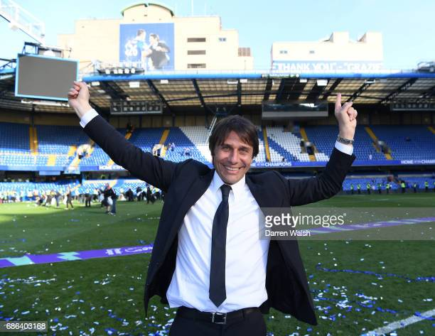 Antonio Conte Manager of Chelsea celebrates after the Premier League match between Chelsea and Sunderland at Stamford Bridge on May 21 2017 in London...