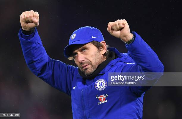 Antonio Conte Manager of Chelsea celebrates after the Premier League match between Huddersfield Town and Chelsea at John Smith's Stadium on December...