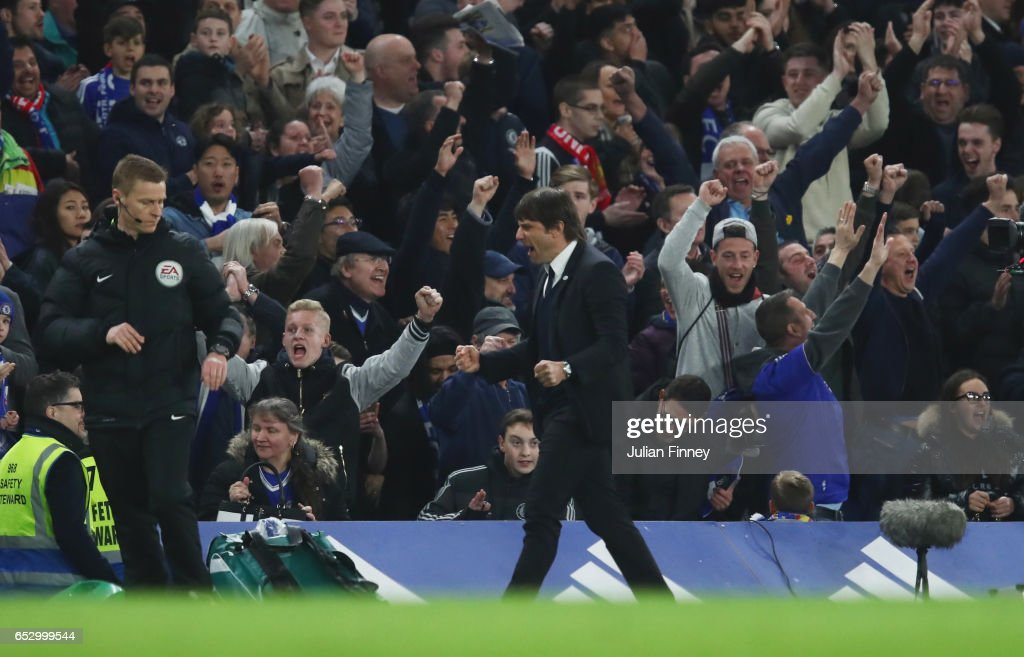 Antonio Conte manager of Chelsea celebrates at full time during The Emirates FA Cup Quarter-Final match between Chelsea and Manchester United at Stamford Bridge on March 13, 2017 in London, England.