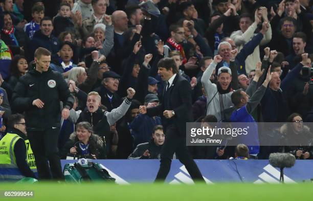 Antonio Conte manager of Chelsea celebrates at full time during The Emirates FA Cup QuarterFinal match between Chelsea and Manchester United at...