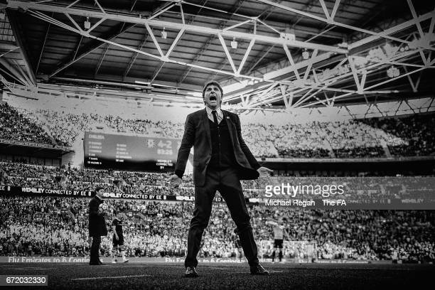 WHITE] Antonio Conte Manager of Chelsea celebrates during The Emirates FA Cup SemiFinal between Chelsea and Tottenham Hotspur at Wembley Stadium on...