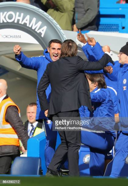 Antonio Conte Manager of Chelsea celebrates during the Premier League match between Chelsea and Watford at Stamford Bridge on October 21 2017 in...