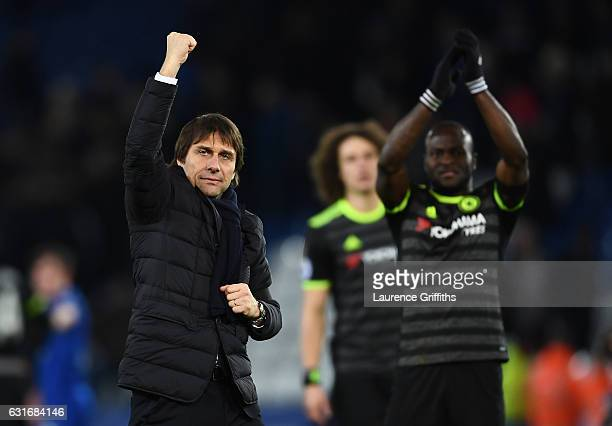 Antonio Conte Manager of Chelsea celebrates following his team's 30 victory during the Premier League match between Leicester City and Chelsea at The...