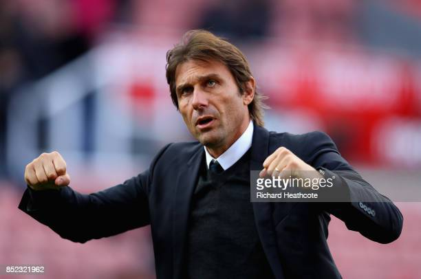 Antonio Conte Manager of Chelsea celebrates his side's 40 victory after the Premier League match between Stoke City and Chelsea at Bet365 Stadium on...