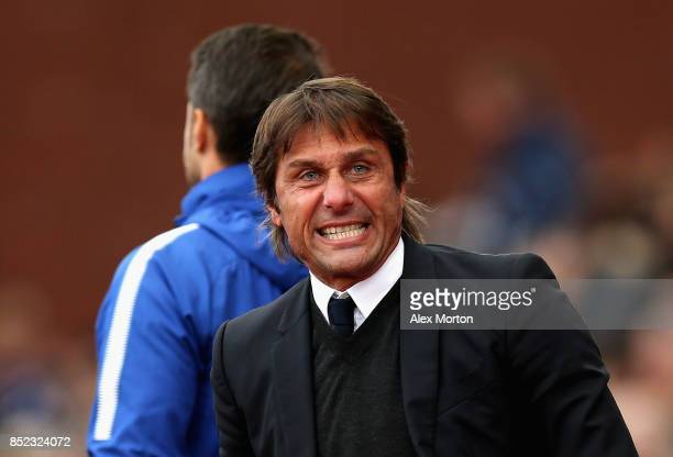 Antonio Conte Manager of Chelsea celebrates his side's third goal during the Premier League match between Stoke City and Chelsea at Bet365 Stadium on...