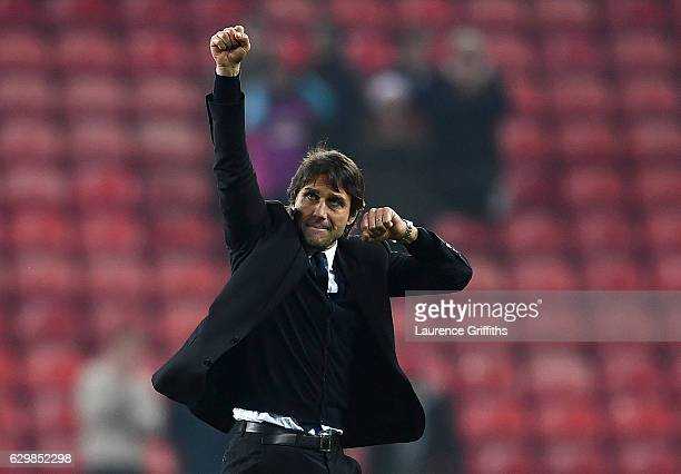 Antonio Conte Manager of Chelsea celebrates his team's 10 win after the Premier League match between Sunderland and Chelsea at Stadium of Light on...