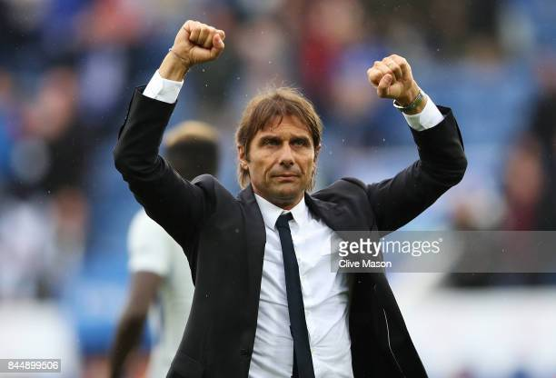 Antonio Conte Manager of Chelsea celebrates victory after the Premier League match between Leicester City and Chelsea at The King Power Stadium on...