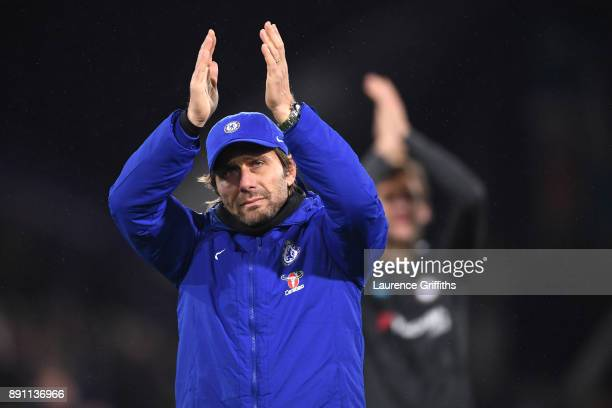 Antonio Conte Manager of Chelsea claps the fans after the Premier League match between Huddersfield Town and Chelsea at John Smith's Stadium on...