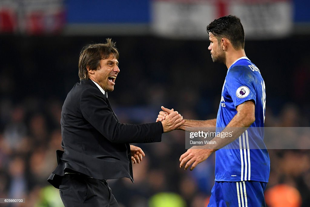 Antonio Conte, Manager of Chelsea congratulates Diego Costa after their team's 2-1 win in the Premier League match between Chelsea and Tottenham Hotspur at Stamford Bridge on November 26, 2016 in London, England.