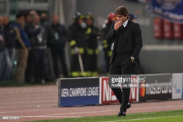 Antonio Conte manager of Chelsea dejected during the UEFA Champions League group C match between AS Roma and Chelsea FC at Stadio Olimpico on October...
