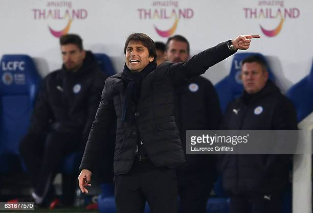 Antonio Conte Manager of Chelsea directs his players during the Premier League match between Leicester City and Chelsea at The King Power Stadium on...