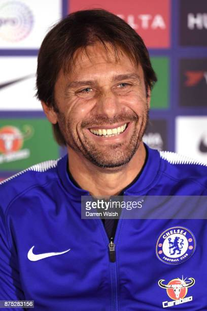 Antonio Conte manager of Chelsea during a press conference at Stamford Bridge on November 17 2017 in London England