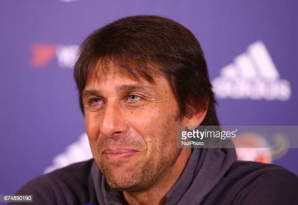 Antonio Conte manager of Chelsea during a press conference at Cobham Training Ground on 28 April 2017 in Cobham England