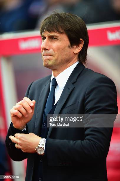 Antonio Conte Manager of Chelsea during the Premier League match between Stoke City and Chelsea at Bet365 Stadium on March 18 2017 in Stoke on Trent...