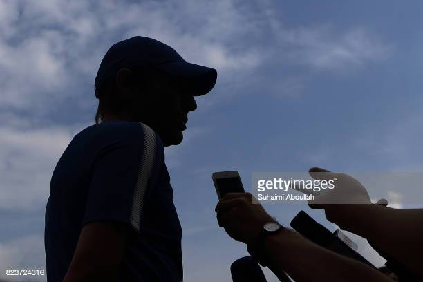 Antonio Conte manager of Chelsea FC gives a door stop interview during an International Champions Cup Chelsea FC training session at Singapore...