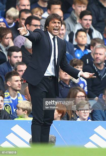 Antonio Conte Manager of Chelsea gives his team instructions during the Premier League match between Chelsea and Leicester City at Stamford Bridge on...