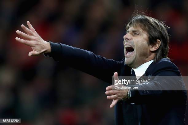 Antonio Conte Manager of Chelsea gives his team instructions during the Premier League match between AFC Bournemouth and Chelsea at Vitality Stadium...