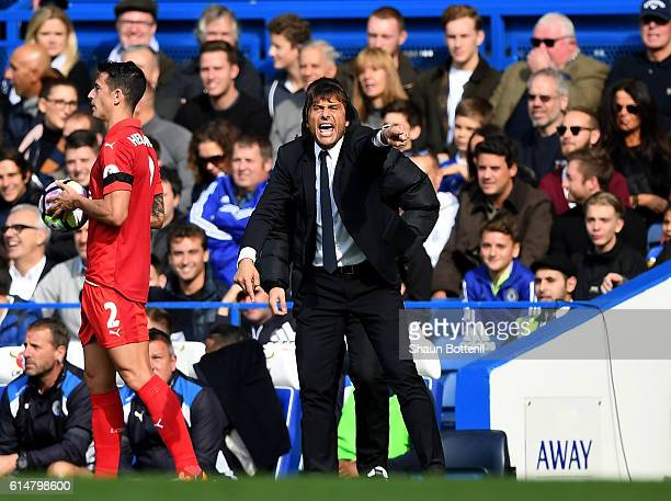 Antonio Conte Manager of Chelsea gives his team instructions from the sidelines during the Premier League match between Chelsea and Leicester City at...