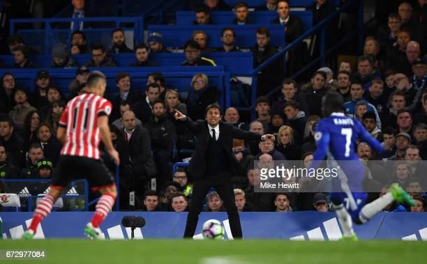 Antonio Conte manager of Chelsea gives instructions during the Premier League match between Chelsea and Southampton at Stamford Bridge on April 25...