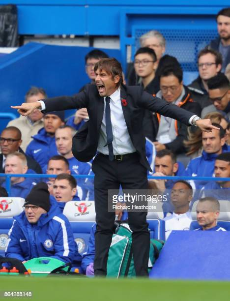 Antonio Conte Manager of Chelsea gives instructions during the Premier League match between Chelsea and Watford at Stamford Bridge on October 21 2017...