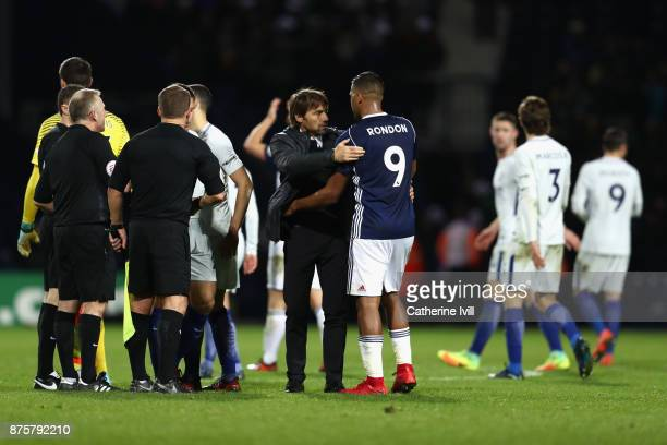 Antonio Conte Manager of Chelsea hugs Jose Salomon Rondon of West Bromwich Albion after the Premier League match between West Bromwich Albion and...